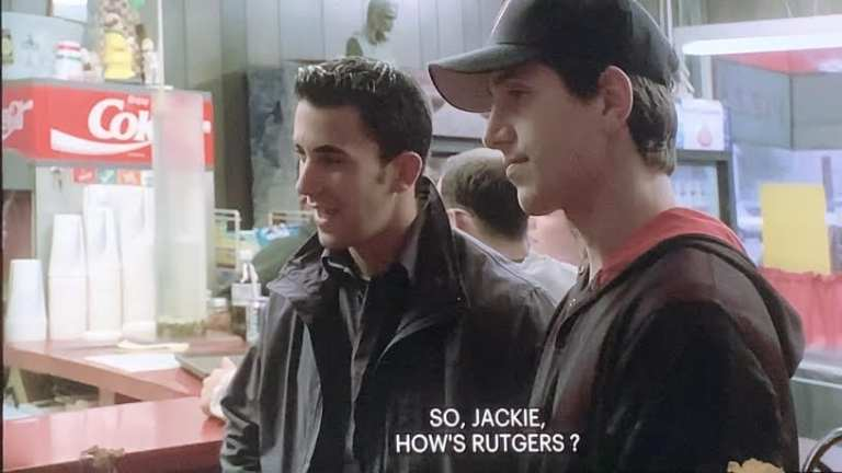 Jackie Aprile Jr. talking about Rutgers at the pizza place in Fortunate Son