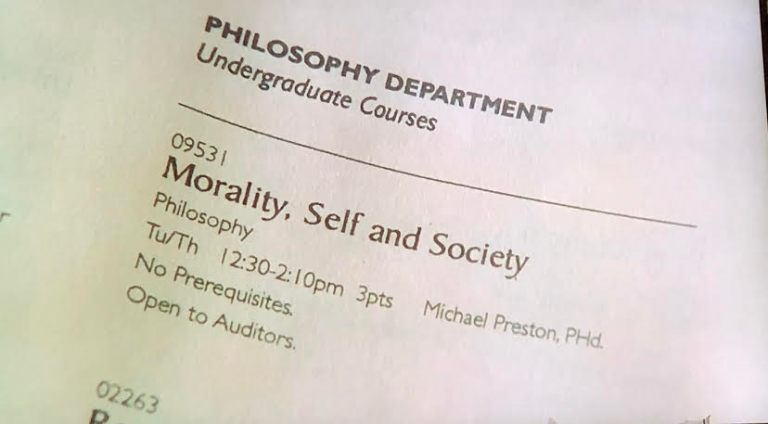 The course sheet for Morality, Self, & Society at Columbia University.