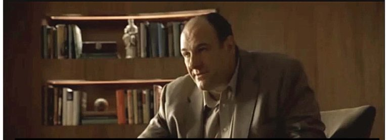 Tony Soprano is talking to Dr. Melfi and comparing mothers to school buses. The text of the quote is on the image.