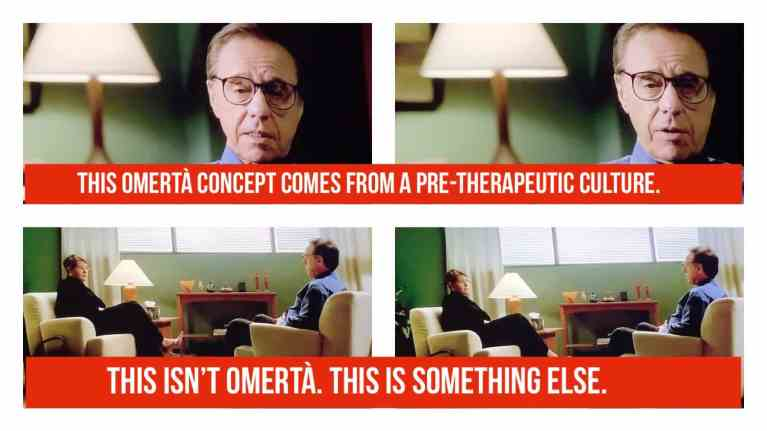 Dr. Melfi is talking to her therapist, Dr. Elliot Kubler, about the omerta concept.
