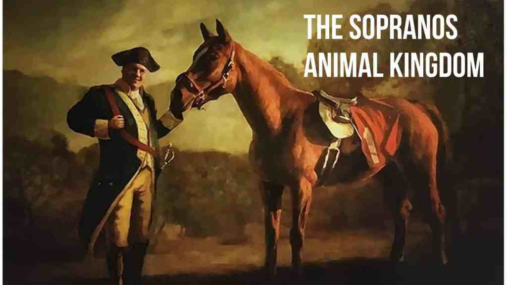 A portrait of Tony Soprano in an old-fashioned war uniform standing with a horse.