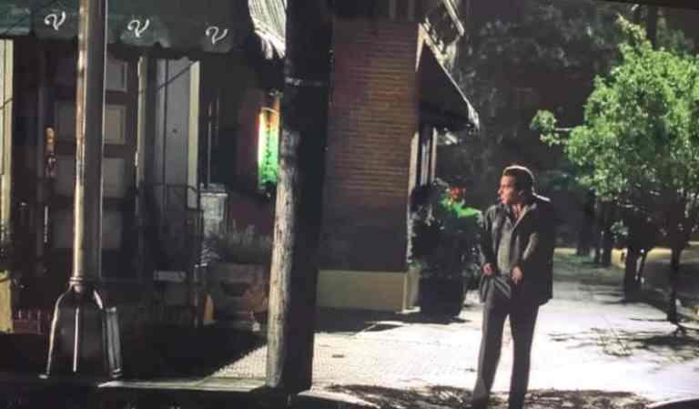 Silvio Dante is walking past Vesuvio after setting it on fire.