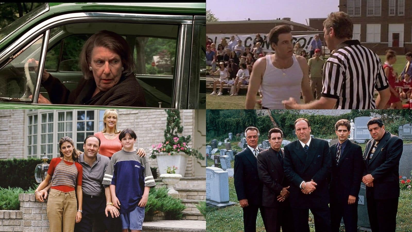 image of Tony Soprano and his families in four different pictures from The Sopranos season one on HBO.