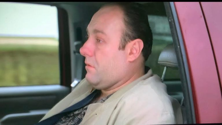 tony is sitting in the backseat of sil's car as they drive to the dock.