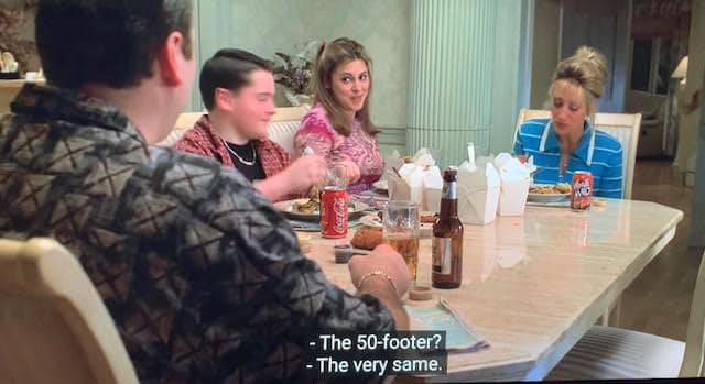 tony, aj, meadow, and carmela are sitting around the dinner table as tony tells them he just bought a new boat.