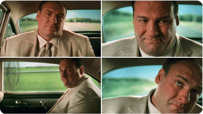tony soprano sitting in the backseat of his father's old car while having a big dream sequence.