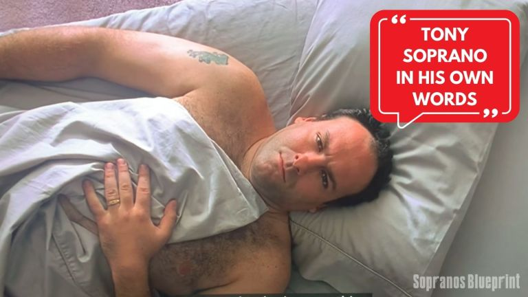 tony soprano is lying down in bed with a red quote bubble above his head.
