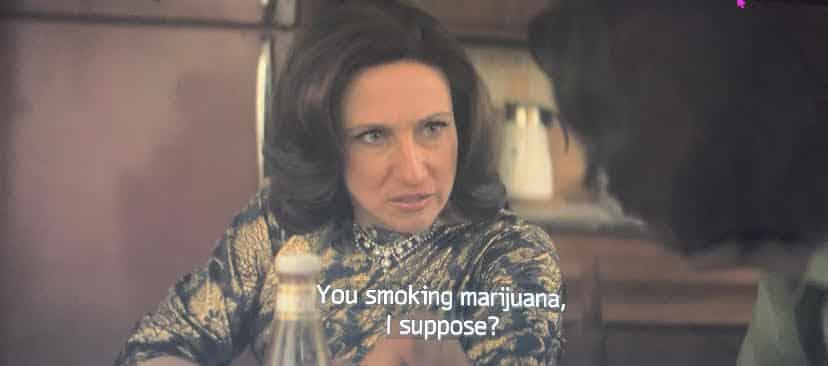 livia is asking young tony soprano if he smokes marijuana.