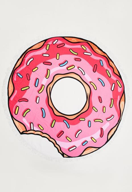 serviette-de-plage-ronde-rose--imprim-donut