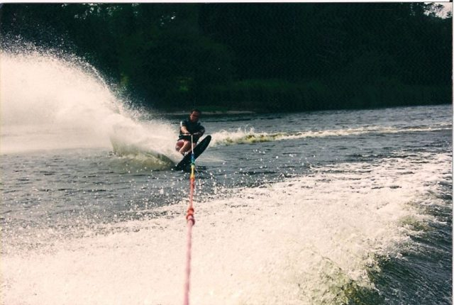 Tom waterskiing