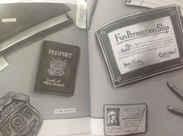 paige's imaginary desk with credentials
