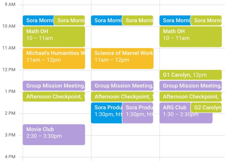 Sora Schools Student Schedule