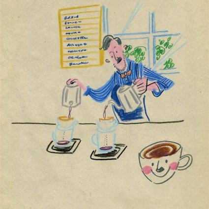 コーヒーを煎れる男性のイラスト