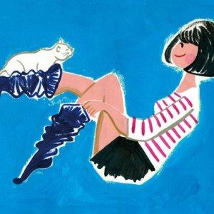 ねこと女の子のイラストレーション