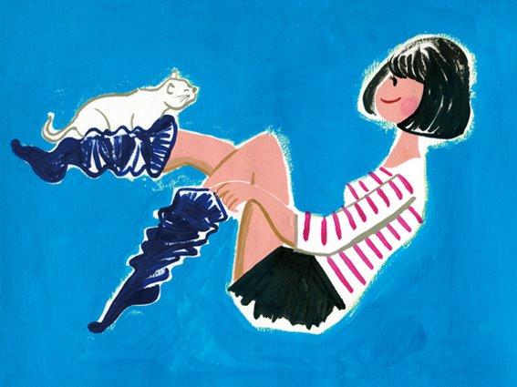 イラストレーター豊島宙が製作したねこと女の子のイラスト