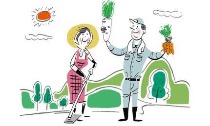 イラストレーター豊島宙が描いたコープのエシカル農家の夫婦のイラストレーション