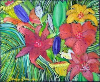 'Flora-jungle' oil on canvas, 20 by 20 inches, 2014 (sold)