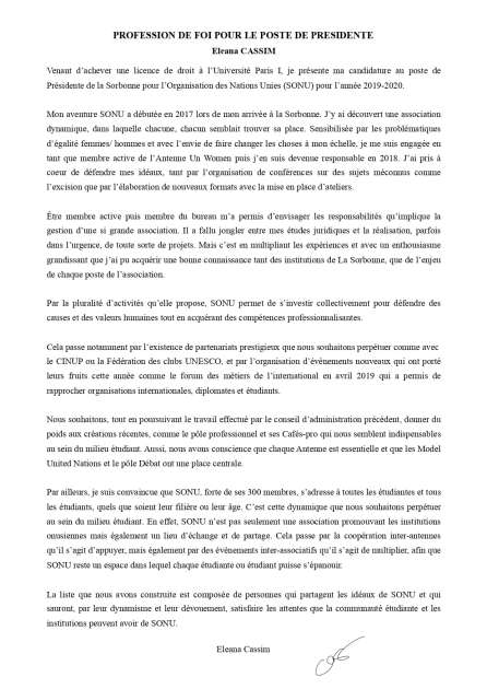 PF Présidente Eleana CASSIM