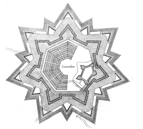 A map of Coevorden Star Fort in the Netherlands. Star Forts are alternatives to castles.