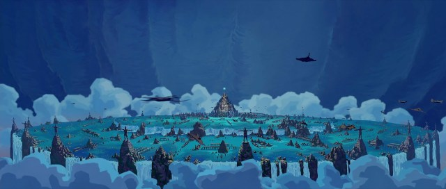The city of Atlantis in Disney's Atlantis movie.