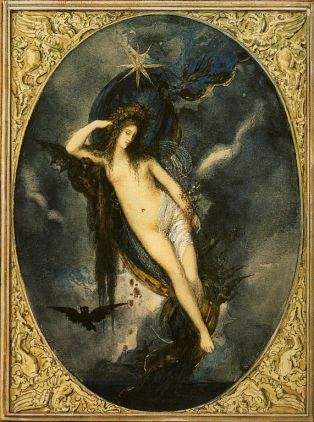 Nyx, by Gustave Moreau, a primordial deity, one of the different types of gods