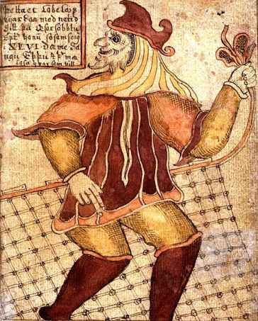 Loki with a Fishing Net, an ancient illustration of the norse god of trickery