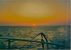 Unspectacular as Mediterranean sunsets go, but the ferry ride was the thrill of a lifetime.