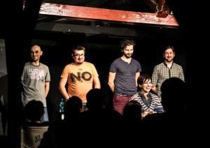 Comedi.Show, de la stânga la dreapta: Bogdan Dumitrescu, Doru Cătănescu, Marin Grigore, Ioana de Hillerin, Cosmin Bighei