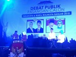 Dua paslon Walikota dan Wakil Walikota Kota Banjar yang mengikuti kegiatan debat publik, 25 April 2018.