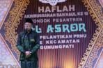 Rois Syuriah NU Kota Semarang, KH Hanif Ismail saat memberikan sambutan di acara pelantikan Pengurus Ranting NU Gunungpati, Kota Semarang.