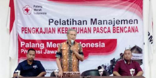 Imam Triyanto saat memberikan sambutan pembukaan pelatihan Pengkajian Kebutuhan Pasca Bencana (Jitupasna) Selasa (3/7/2018) di Pusdiklat PMI Jawa Tengah, jalan Arumsari RT 11 RW 2, Sambiroto Tembalang, Kota Semarang