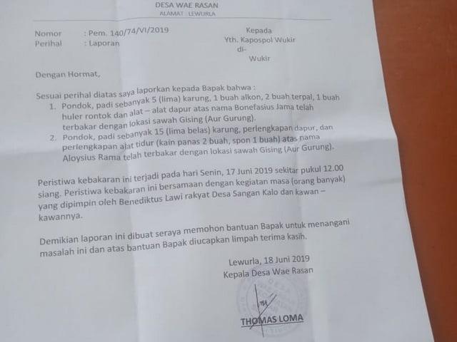 Surat laporan polisi soal kasus kebakaran di wukir