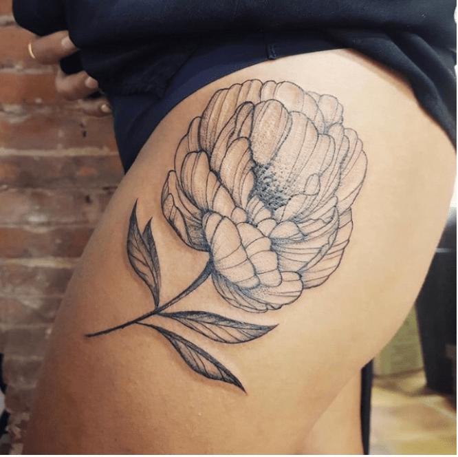 Tatouage fleur pivoine