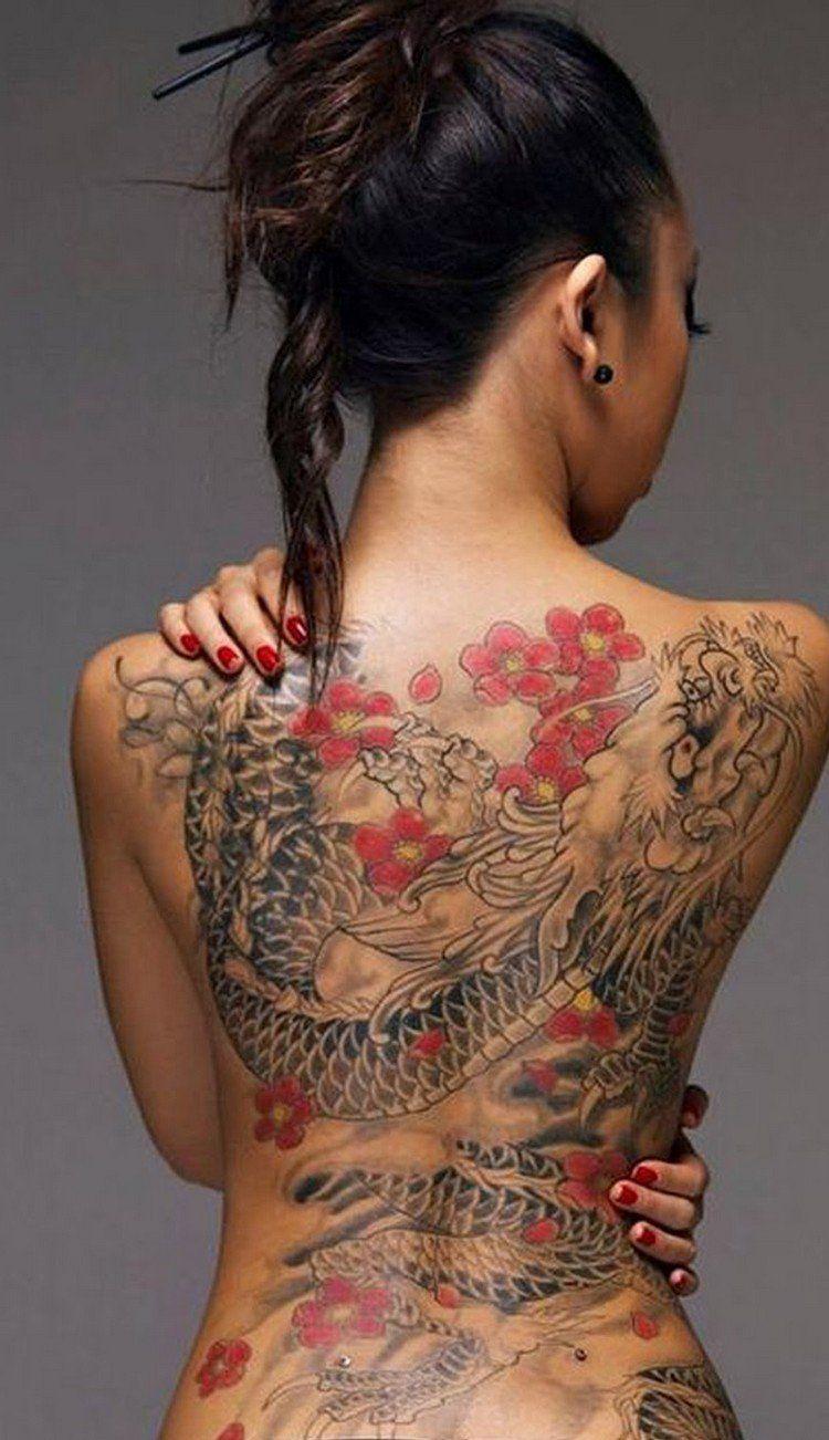 Tatouage Japonais Dragon Femme Dos