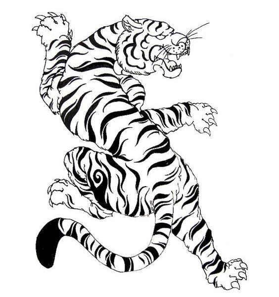 dessin tatouage tigre montant