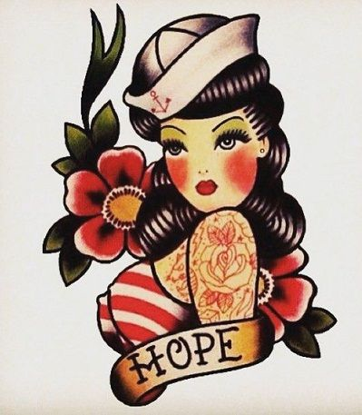 Dessin tatouage pinup