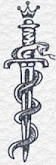 Dessin serpent autour d'une dague