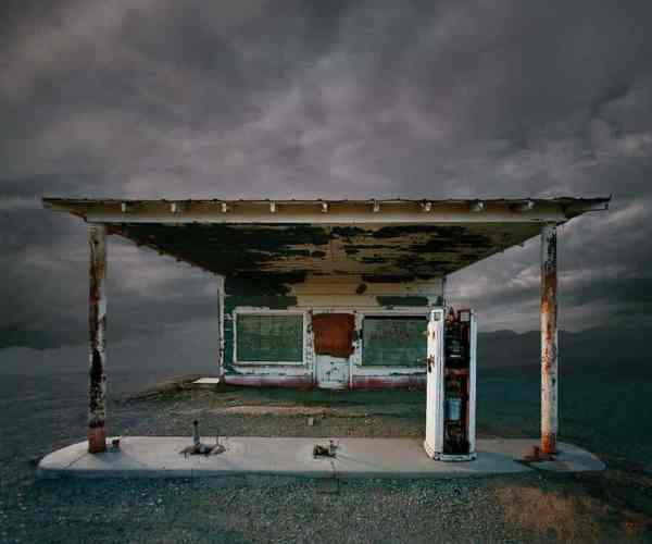 """Abandoned Gas Station, Niland CA - Edition 5 of 9"" - Original Artwork by Ed Freeman"