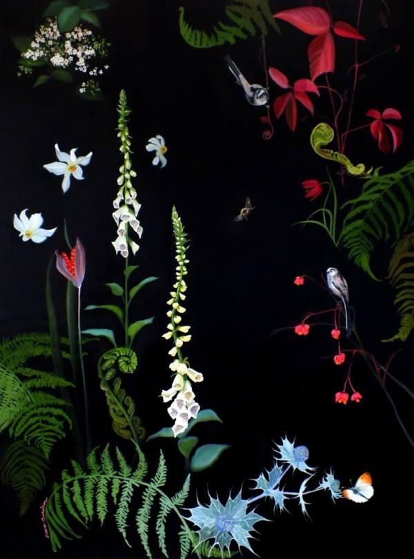 """Foxgloves and Unfurling Ferns"" - Open Edition Print by Lara Cobden"