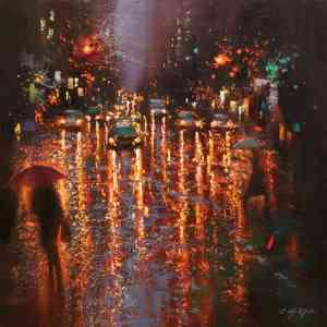 """Still Rainy in Lexington Avenue"" - Open Edition Print by Chin h Shin"