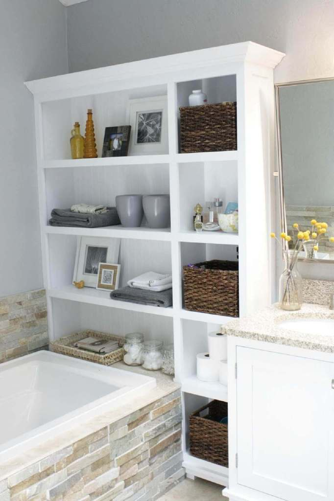 Huge Shelves - best small bathroom remodel storage ideas