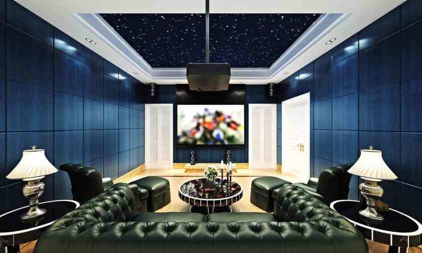 cool blue and black home theater