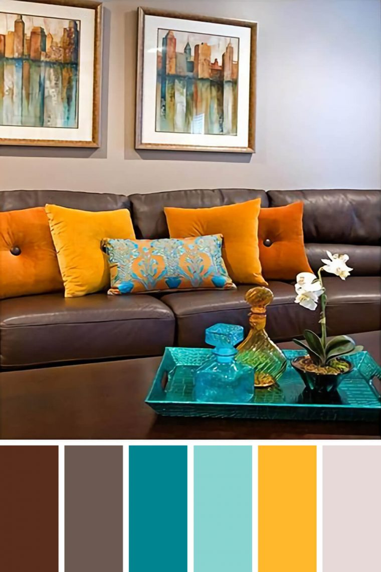 living room color schemes with brown couch