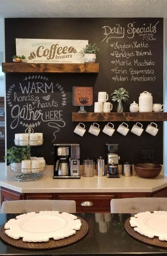 Excited home coffee bar with chalkboard