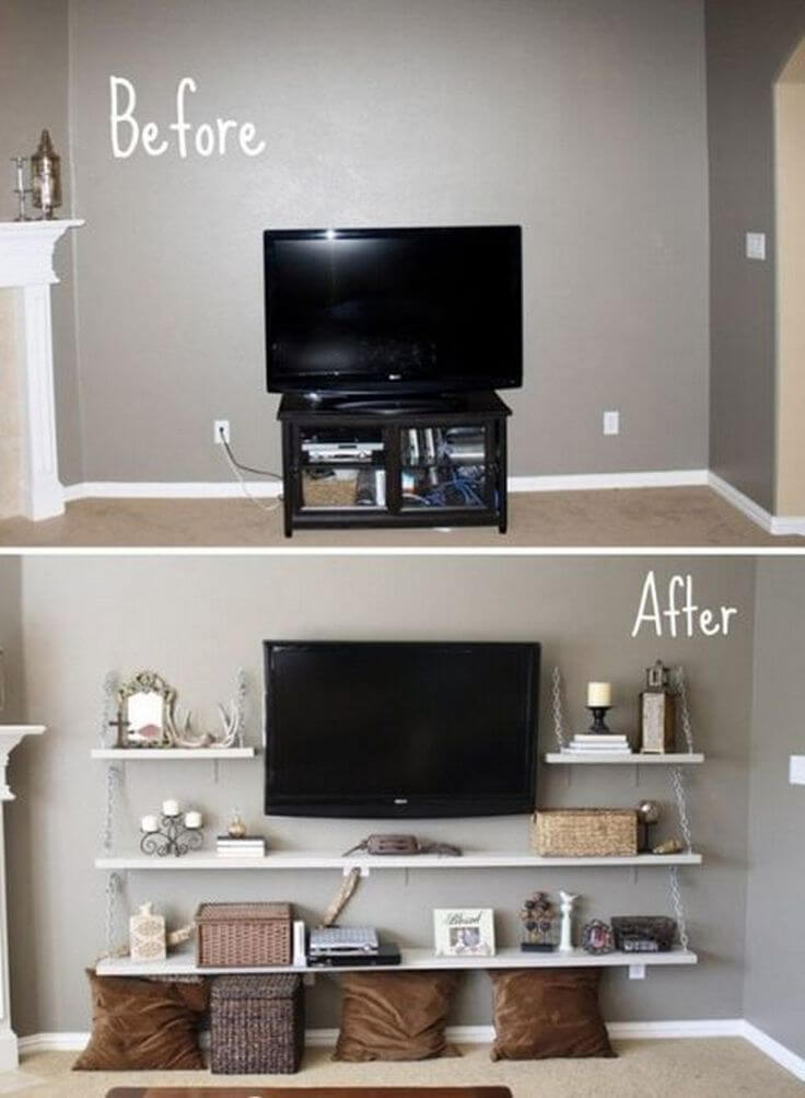 Open Shelving and Wall Mounted TV