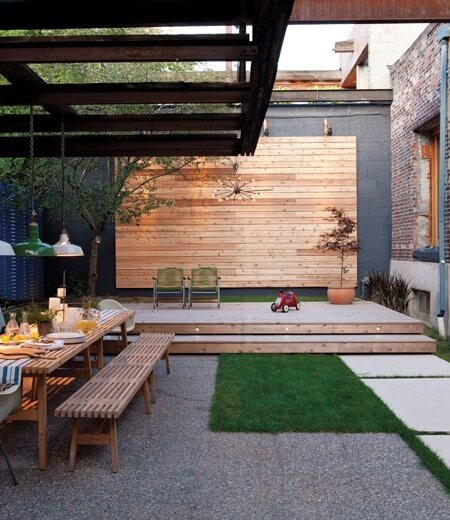 Family Friendly Backyard Design with bench and deck