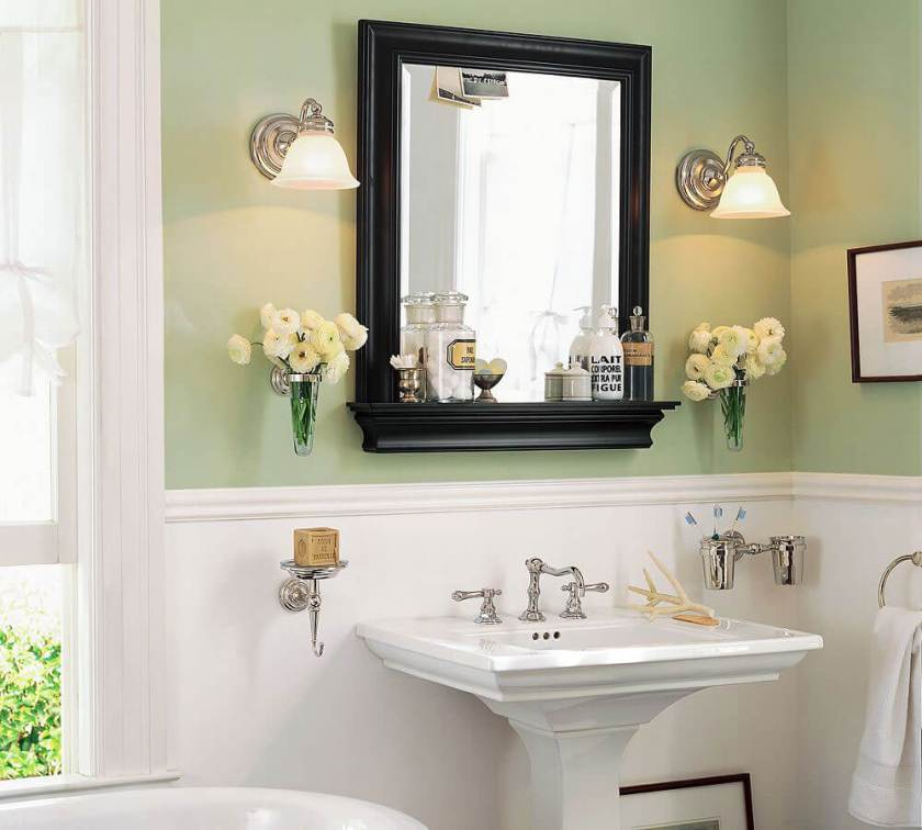 Adorable Design Bathroom Mirror Ideas Decorations with Two Preety Lamp above Beautifull Flower