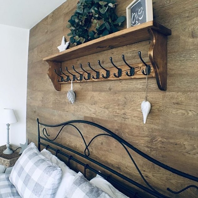 Country Bedroom Shelf with Hangers