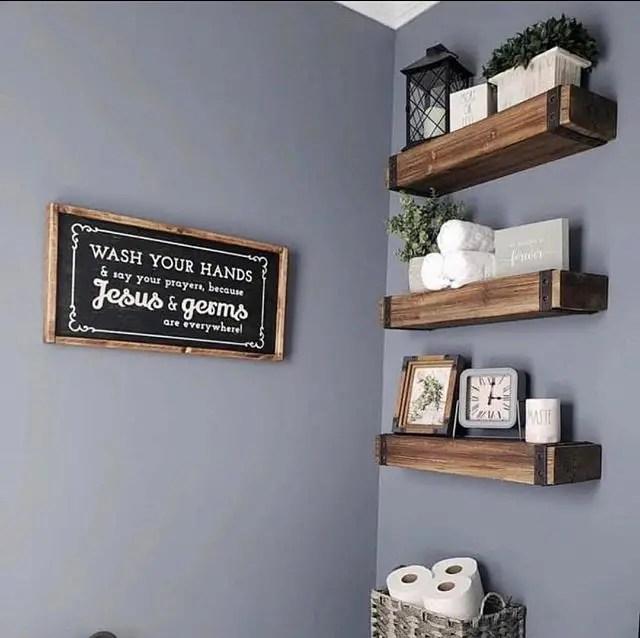 Easy Rural Bathroom Shelves