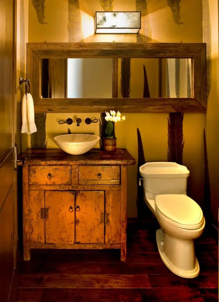 Tiny rustic powder room